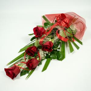 kytica z 5 červených ruží