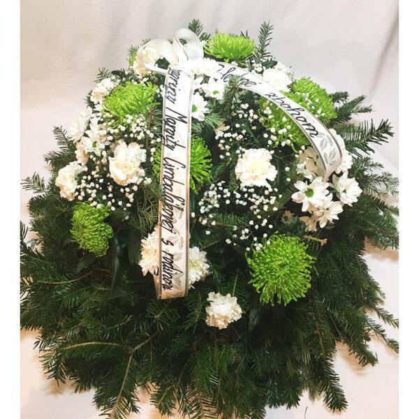 Bielo zelený čačinový veniec