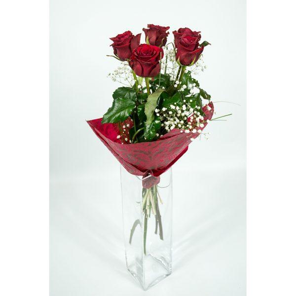 5 červených ruží