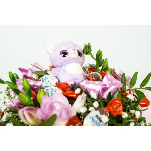 Jedlá kytica fialový medvedík