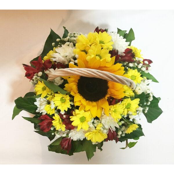 Jesenný kôš so slnečnicou