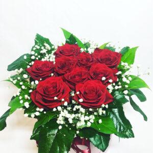 Kvetinový box 9 červených ruží