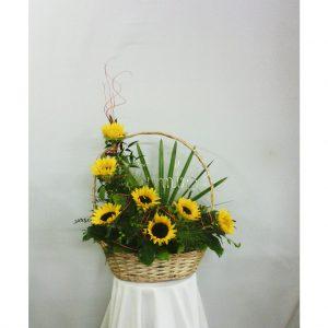 Slnečnicový kvetinový kôš