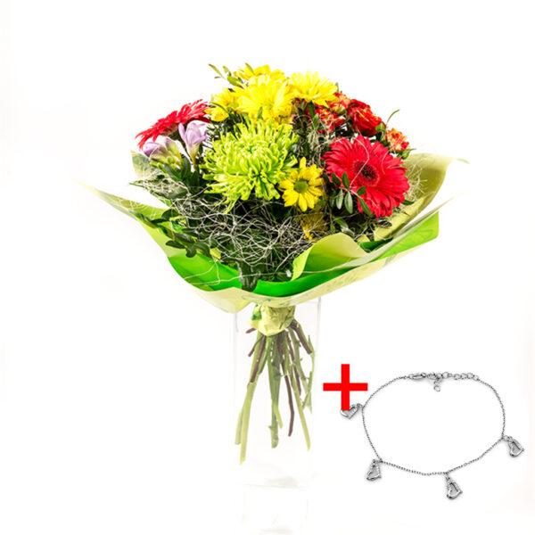 Farebná kytička s náramkom v tvare srdiečok