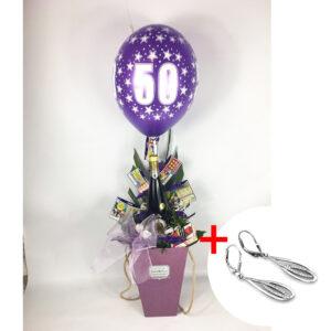 Kvetinový box 50-tka s náušicami v tvare kvapiek