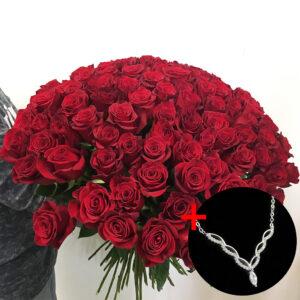 Kytica 100 červených ruží s náhrdelníkom