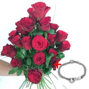 Kytica z 25 červených ruží s náramkom